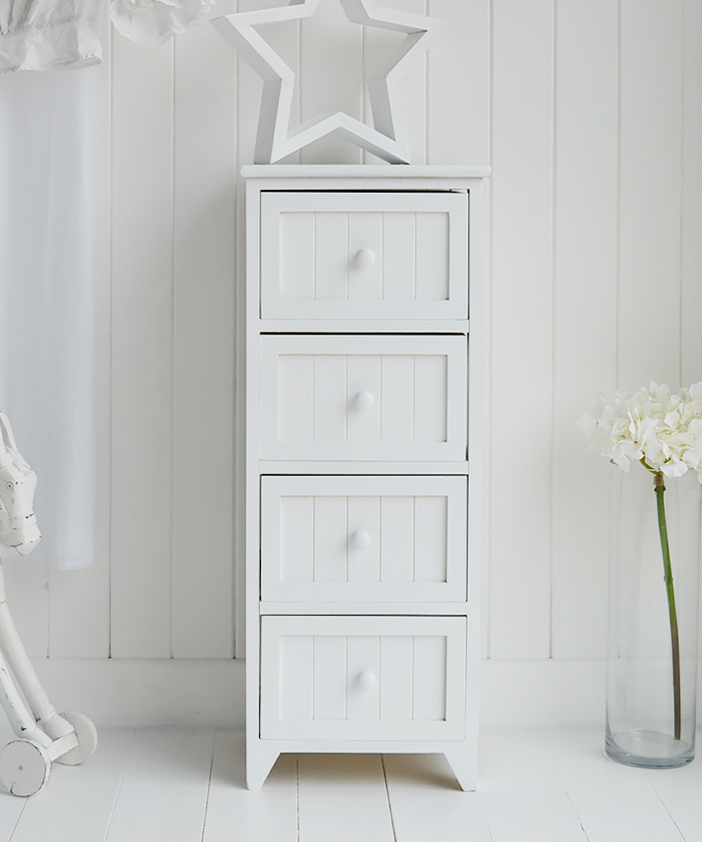 Maine Slim Chest Of Drawers White Bedroom Storage Furniture