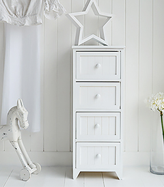 Maine slim white chest of drawers with 4 drawers for narrow areas in the beroom