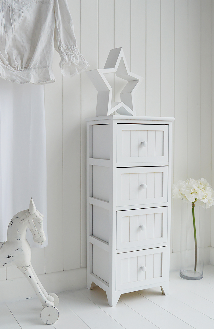 White Maine storage drawers from the Maine range