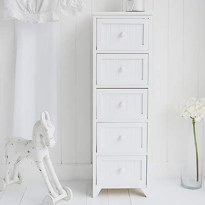 Maine 5 drawer white narrow chest of drawers for white bedroom furniture pieces