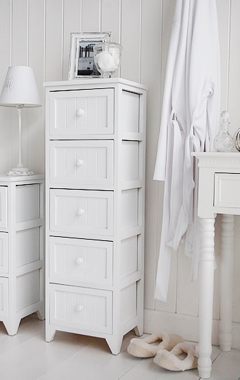 Maine tall Slim chest of 5 drawers - White tallboy Bedroom Storage Furniture