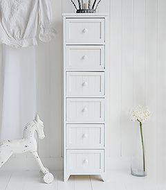 Maine white bedroom furniture slim 5 drawer chest of drawers