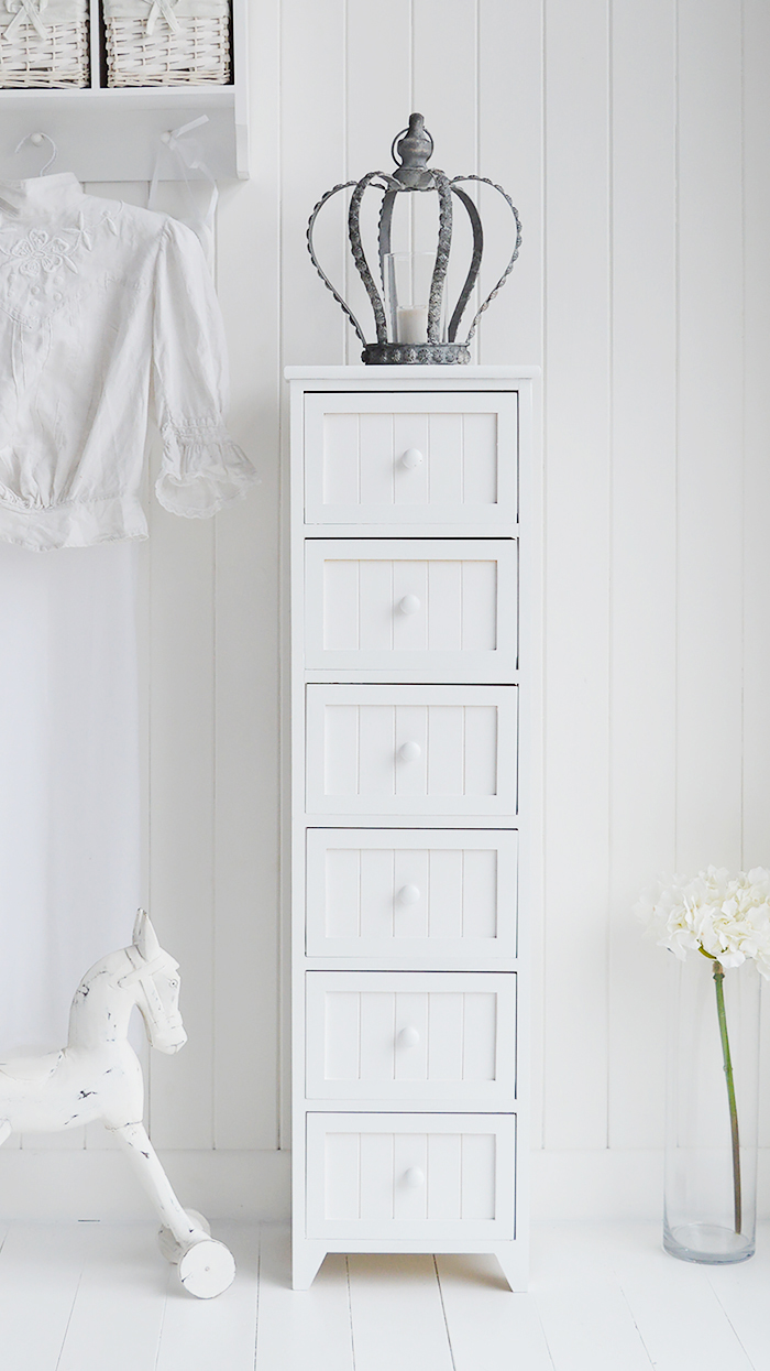Maine Slim Tallboy Chest Of 6 Drawers White Bedroom
