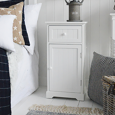 Maine white bedside cabinet with cupboard