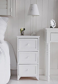 MAine white 3 drawer bedside table