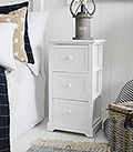 Maine 3 drawer bedside table. Budget range of white bedroom furniture