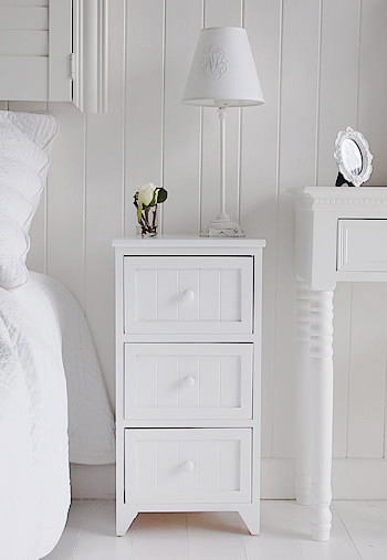 The Maine white three drawer simple bedside table
