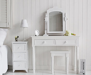 Maine white bedside table pictures with our New England white dressing table,  perfectly matched white bedroom furniture