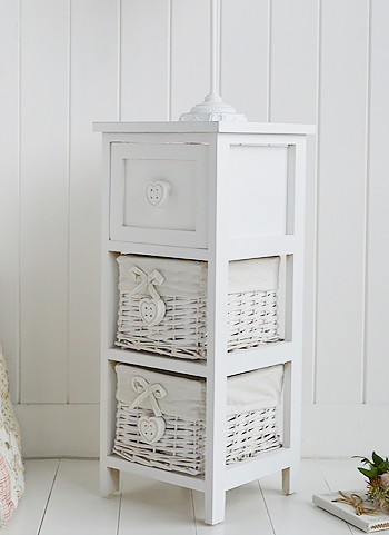 White narrow 25 cm bedside table from The Sweetheart range of bedroom furniture, specifically designed for small bedrooms