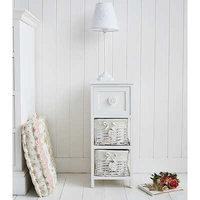 White Sweetheart narrow bedside table 25cm wide