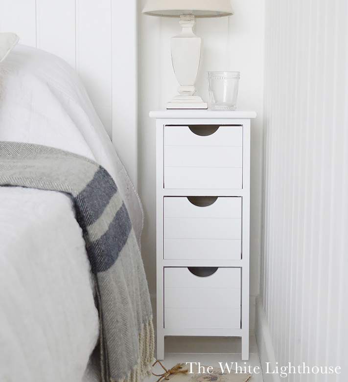 Dorset narrow bedside table 25cm max in white
