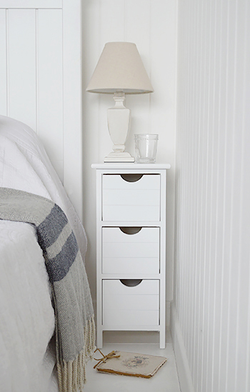 Slim Bedside Tables: Dorset Max 25cm Narrow White Bedside Table. The White