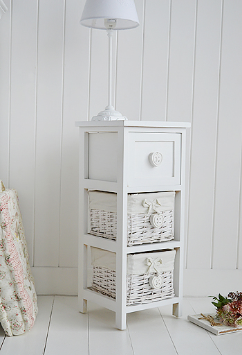 25cm white narrow bedside table from The Sweetheart range of bedroom furniture, designed for smaller bedrooms