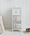 White narrow 25cm bedside table with baskets