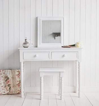 New England White bedroom dresser with ceramic knob handles, stool and white mirror