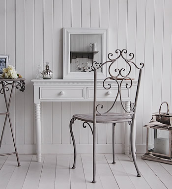 New England White Dressing Table Ceramic Handles Bedroom