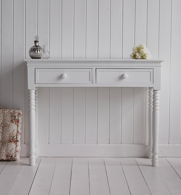 A Simple White Dressing Table New England Bedroom Furniture With Ceramic Handles Large
