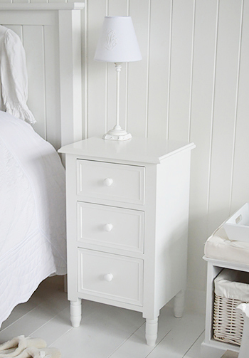White Bedside Cabinet With Three Drawers The White Lighthouse Bedroom Furniture