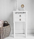 New England white Bedside Table with two drawers. A simple range of white bedroom furniture