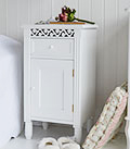 New England White Bedside Cabinet with cupboard and drawer. Ideal for storing books