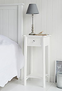 New England bedside with silver handle on drawer for tall narrow bedside tables