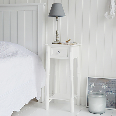 New Englands tall narrow white lamp table