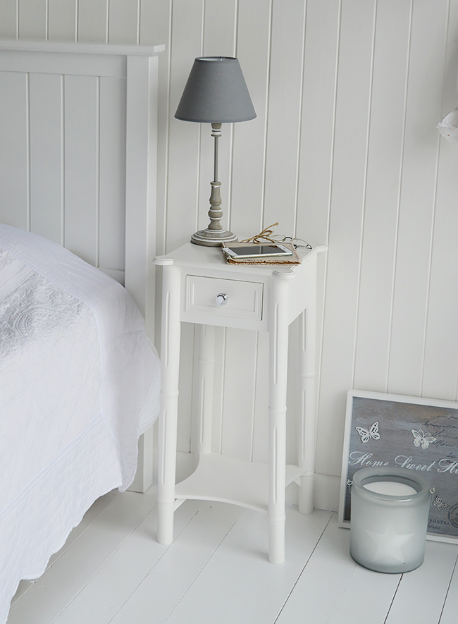 Above photo of the New England bedside to show the detail from The White Lighthouse White Bedroom Furniture