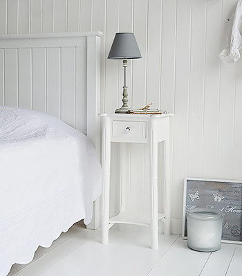 New England white bedside table with silver handles to match the dressing table. Perfect to furnish a white boutique hotel bedroom