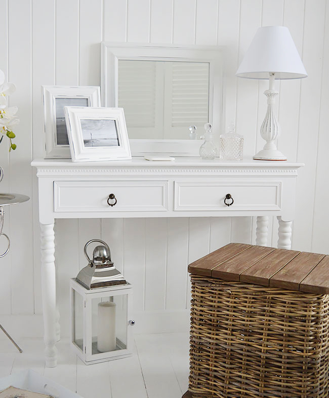 New England white bedroom furniture. Dressing table with drawers