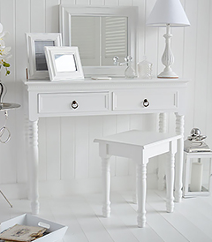 New Enlgnnd white dressing table. Shown here in a white bedroom for a New England furniture interior