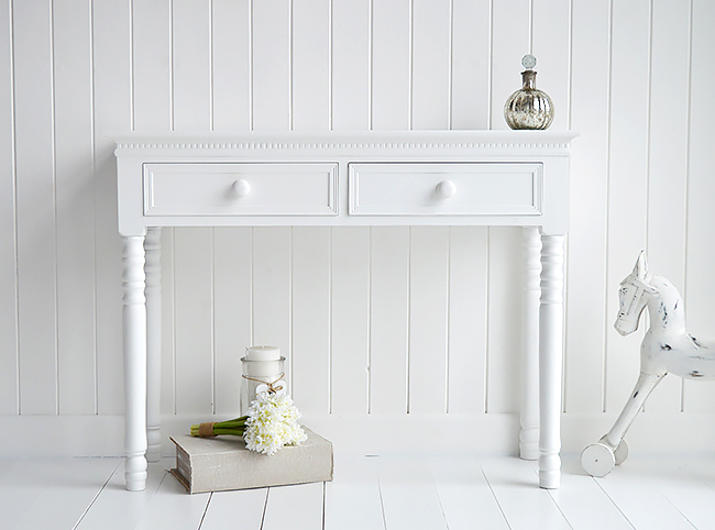 Simply The New England White Dressing Table with knob handles