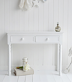 New England simple white dressing table for decorating a pure white bedroom. Chest of drawers and bedside tables available to match