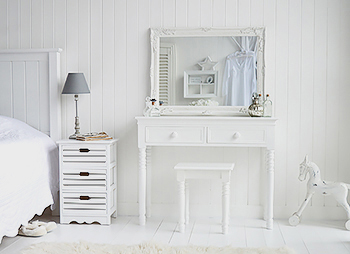 New England White Dressing Table With Drawers And Chunky Knob Handles Bedroom Furniture
