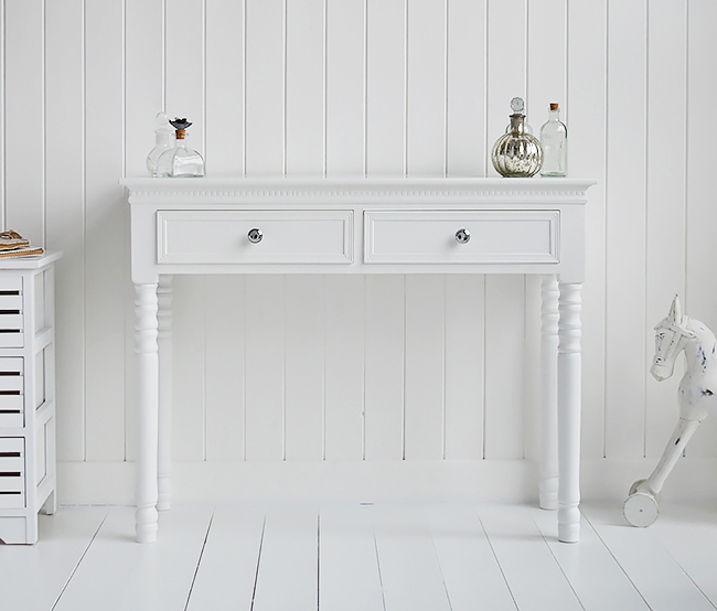 The White Lighthouse Bedroom Furniture New England dressing table with two drawers and silver handles