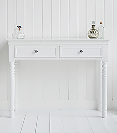 New England dresser with silver handles, perfect to furnish a boutique hotel style bedroom. Matching white bedroom furniture available