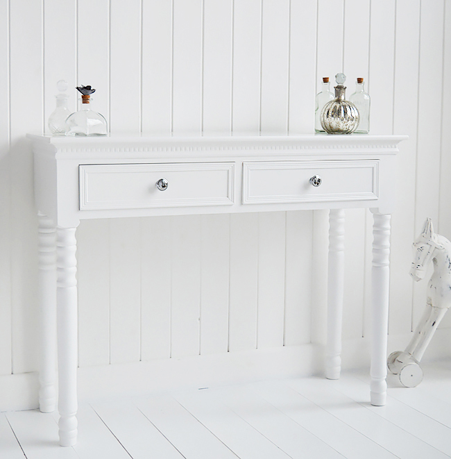 New England dresser with drawers and silver handles from The New England range of white bedroom furniture