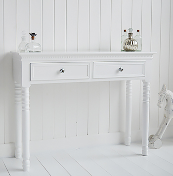 New England white console table with drawers