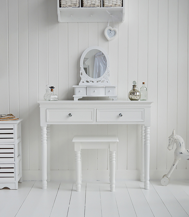 New England white dressing table with drawers and silver handles. The White Lighthouse coastal white bedroom furniture