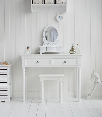 New england white dressing table with drawers and silver for White dressing table for sale
