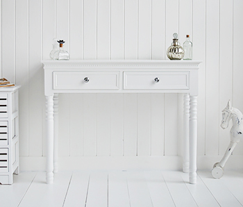 White hallway tables