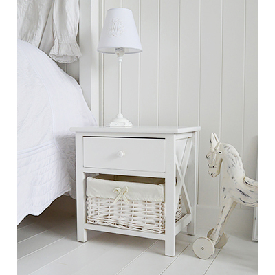 New Haven white lamp table with drawers
