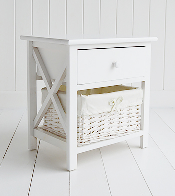 New Haven white bedside table