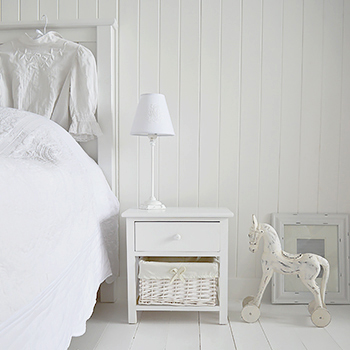New Haven small pure white bedside table with 2 drawers including a lined basket and a top wooden drawer with knob handle