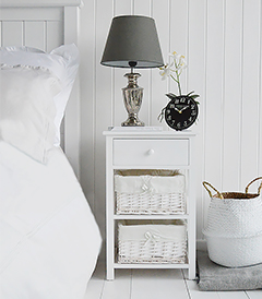 New Haven simple 3 drawer bedside table with 3 drawers, including 2 baskets and a wooden top drawer with knob handles, all in pure white