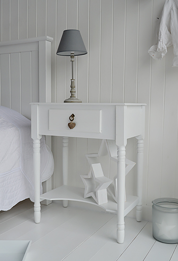Large White Bedside Table Plymouth Bedroom Furniture