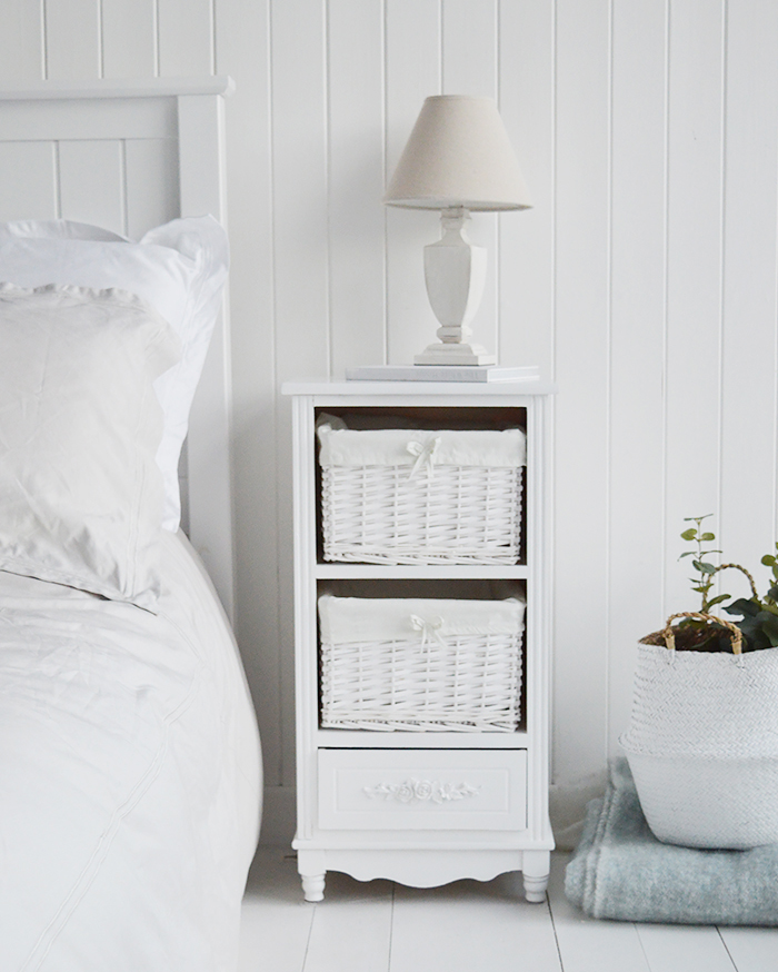 Rose white furniture with 3 drawers. Two baskets and a bottom drawer