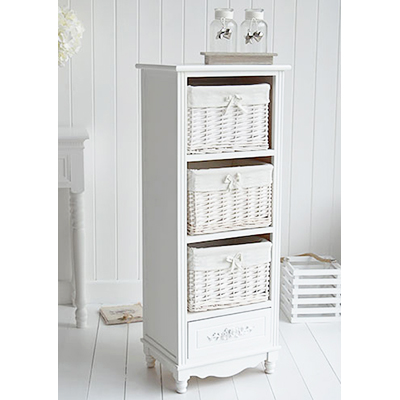 Rose small white lamp table with drawers for country or coastal cottage living room furniture