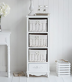 Rose white tall narrow chest of drawers with pretty floral handles. Ideal for country cottage bedroom interiors