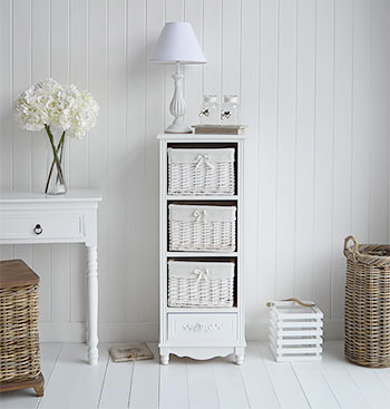 The White Lighthouse Furniture Bedroom Storage - Essential solution in every width and height for essential storage to keep your bedroom a peaceful place. New England, country, coastal and city home interiors and decor.
