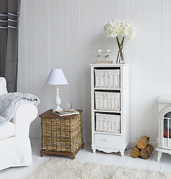 Rose tall storage with three baskets and drawer for living room